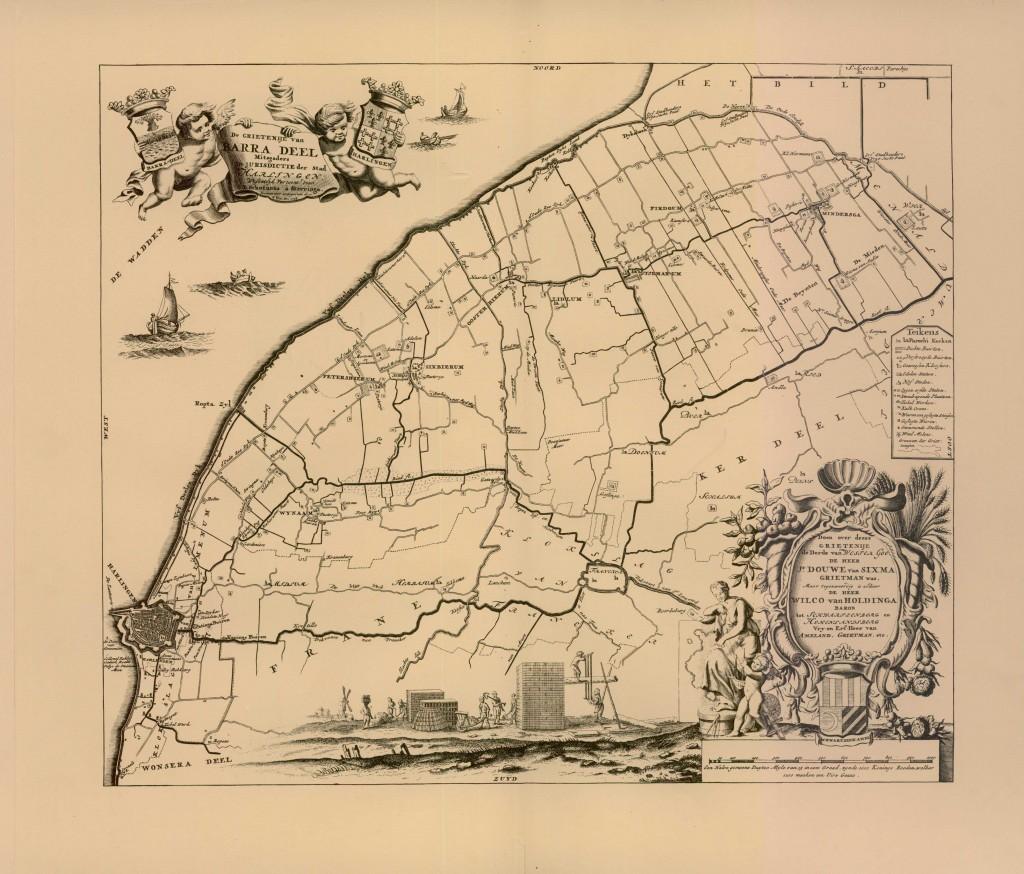 Op de Schotanuskaart uit 1718 zijn de Firdgumer en Minnertsgaaster Oude Meer als twee kaarsrechte lijnen ingetekend, met daartussenin het dorpsgebied van Firdgum.