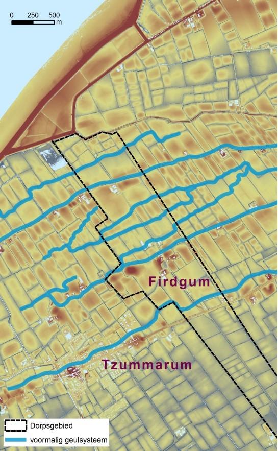 Het grillige verloop van een aantal oost-west lopende sloten markeert de ligging van voormalige geulen, die tijdens een bodemkartering in de jaren '60 zijn aangetroffen.