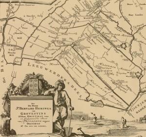 Een kaart uit het jaar 1718 geeft een goed beeld van de spreiding van de verschillende boerderijen in het landschap
