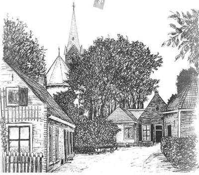ekening van Ids Wiersma. Links staat de bakkerswoning afgebeeld. In het midden is het winkeltje te zien.