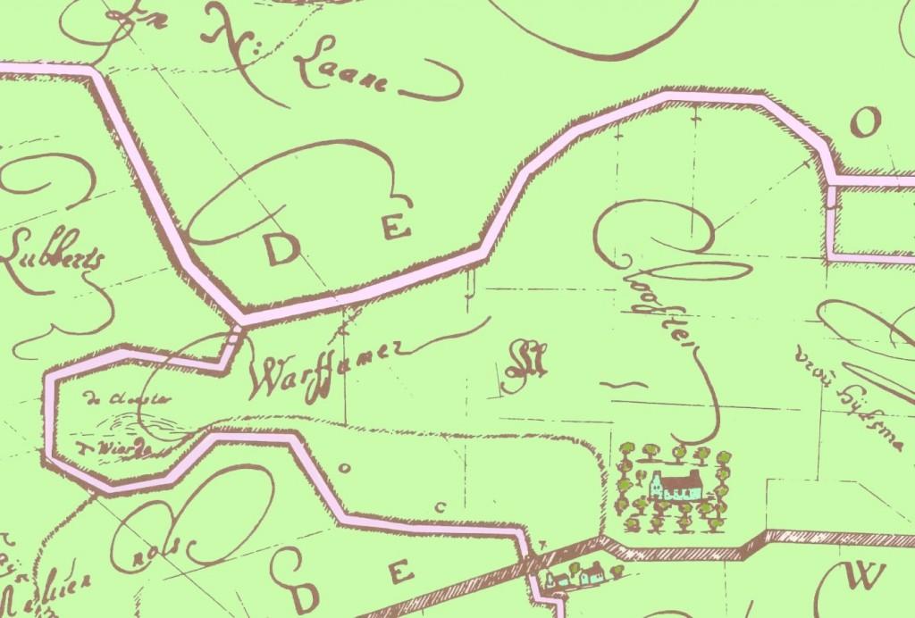 Kaart 1863 met kloosterterrein