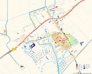 Op deze kaart is goed te zien dat dorpsuitbreiding vooral vanaf 1900 heeft plaatsgevonden. Tot die tijd waren grote delen van het landschap rondom de wierde nog vrij van bebouwing.