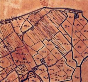 Fragment uit de kaart van Tideman uit 1734 waarop de smalle precelen op de valge duidelijk staan afgebeeld.