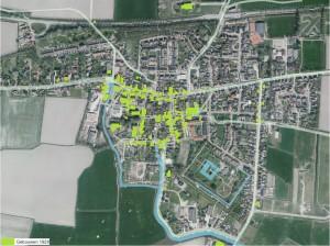 Gebouwen, wegen en waterwegen omstreeks 1832 geprojecteerd op een luchtfoto van nu.