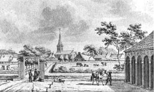 Gezicht op Ulrum vanaf het borgterrein. (tekening: J. Bulthuis (1750-1801). De afbeelding is afkomstig uit het boekje De Marne als éénheid, 1971.