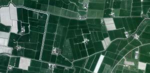 hetzelfde gebied ruim 300 jaar later op een recente luchtfoto