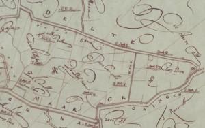kaartfragment van de kaart van schoolmeester Geerdts uit 1683 waarop met stippellijntjes de ossegang staat afgebeeld langs de Oude Delthe