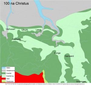 palaeografische kaart ulrum 100 na chr