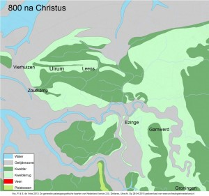 palaeografische kaart ulrum 800 na chr