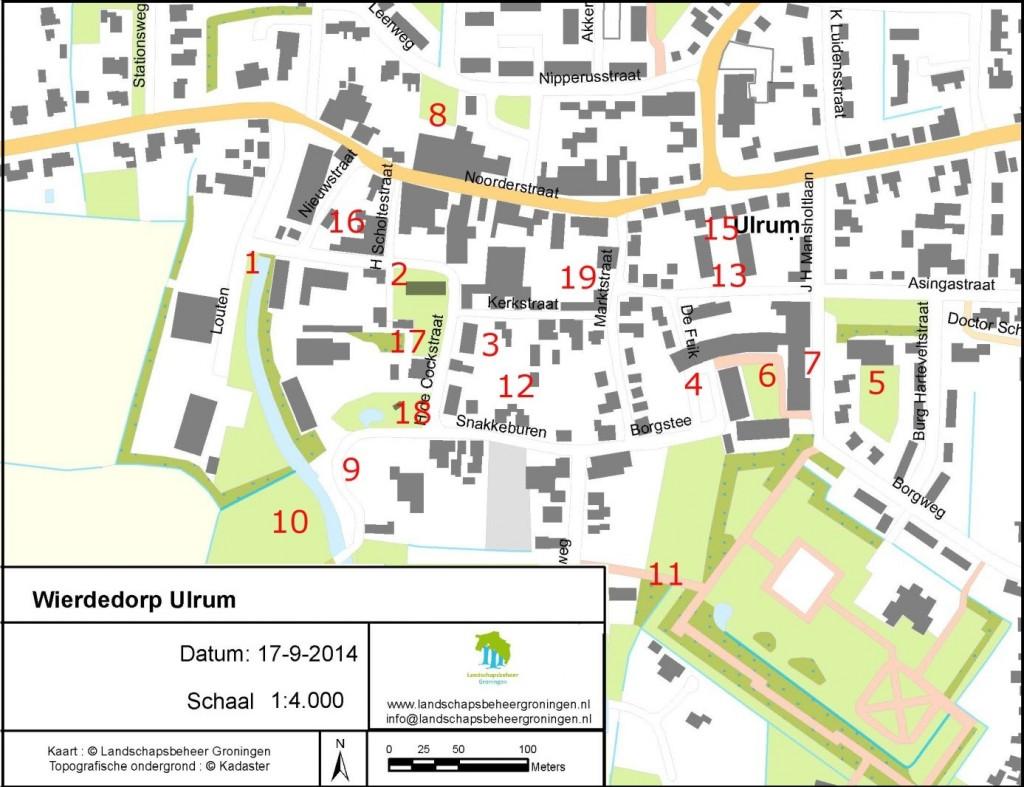 Figuur 1. De positie van de boringen in Ulrum. Boring 14 staat niet ingetekend omdat dat een boring is die niet tot op diepte doorgezet is, enkele meters ten oosten van boring 15. Beschrijving van de boringen