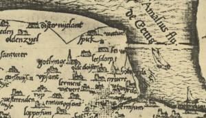 Kaart met de spitstoren van Godlinze - 1545