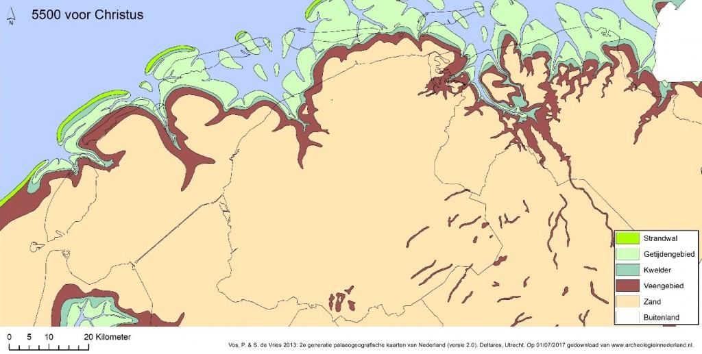 De paleogeografische kaart laat zien hoe Noord-Nederland er rond 5500 voor Christus in grote lijnen uitzag. Grote delen van Groningen en Friesland lag het pleistocene dekzand nog aan de oppervlakte. Aan de randen van de dekzandplateaus werd het steeds vochtiger door de stijgende zeespiegel waardoor hier veen tot ontwikkeling kwam. Iets ten noorden van de huidige Waddeneilanden ontstonden strandwallen.