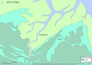 Rond 800 na Christus werd het landschap direct ten westen van Godlinze gekenmerkt door een getijdengebied. Het duurde nog tot in de 12de eeuw voordat de Fivelboezem was dichtgeslibd. Vanaf die periode werden er actief dijken aangelegd om zodoende de opgeslibde kwelders in cultuur te kunnen brengen.