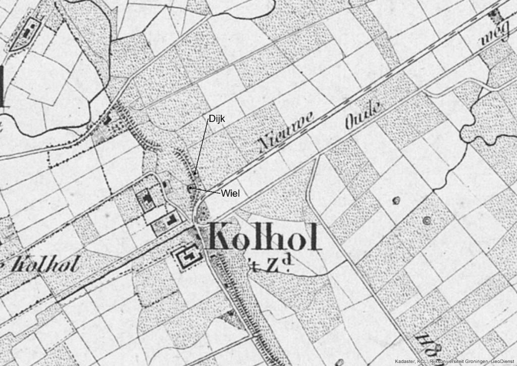 Op de Topografisch Militaire kaart uit het jaar 1850 staan zowel de dijk als het wiel aangegeven. Ter hoogte van het wiel maakt de dijk een duidelijke kronkel.