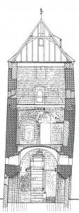 Schematische tekening van een steenhuis. Bron: P. Noomen De stinzen in Friesland en haar bewoners (2009)