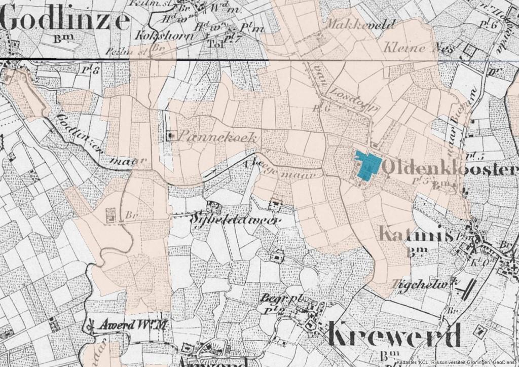Het klooster Feldwerd wordt op een kaart uit 1850 vermeldt als Oldenklooster. De landerijen tussen Godlinze en Feldwerd waren voor een overgroot deel in bezit van het klooster. Bron: Topografisch Militaire kaart, kloosterbezittingen (fryske akademy)