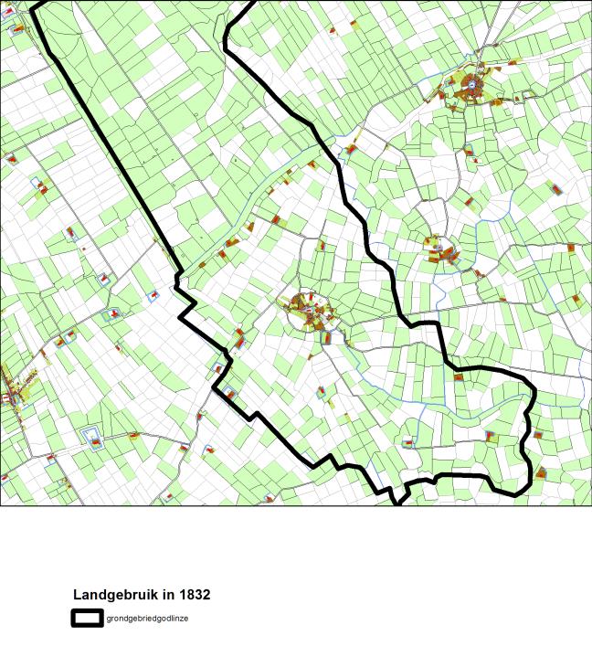 Landgebruik binnen de dorpsgrenzen van Godlinze. De witte percelen waren in het jaar 1832 in gebruik als bouwland. De groene percelen werden als weiland gebruikt. Bron: Hisgis, Fryske Akademy.